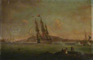 HMS 'Britannia' Sailing from the Hamoaze to Plymouth Sound, with the Duke of Clarence on Board as Lord High Admiral, 27 July 1828