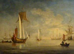 An English Royal Yacht Under Sail with a Fishing Boat Laying a Net