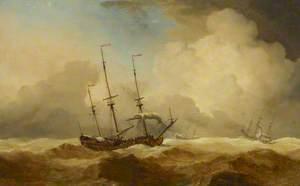 English Ships at Sea Running Before a Gale