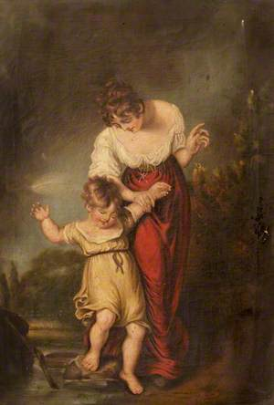 Woman and Child at a Ford