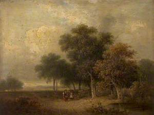River Scene (Trees and Figures)
