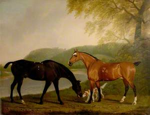 Horses and Dog in a Landscape