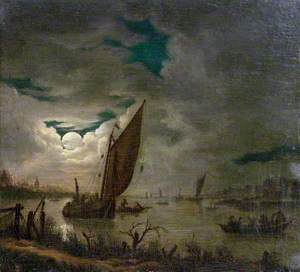 River Scene with Boats and Figures