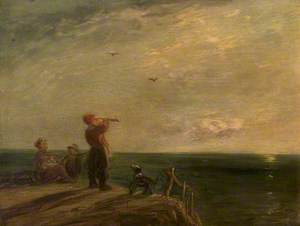 Seascape with Figures and Dog, Sunset