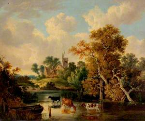 Landscape with Cattle in a Pool