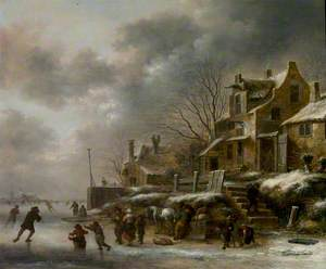 Winter Scene, River with Figures Skating