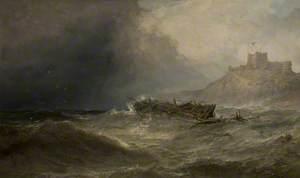 Brig Drifting Ashore off Bamborough, Northumberland (Bamborough Castle, Northumberland with a Wreck)