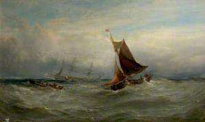 Boats in a Gale off Ostend, Belgium