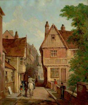 Old Houses, St Peter's Gate, Nottingham, 1842