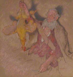 Study of a Man Holding a Cock for 'Highland Raiders'