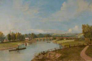Old Trent Bridge with Steamer, from the North Bank