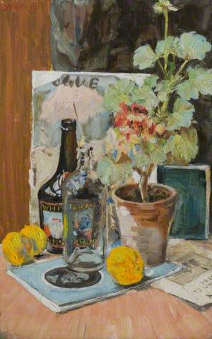 Still Life with Geraniums, Two Bottles and Fruit