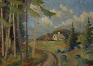 Landscape with Trees and Cottages
