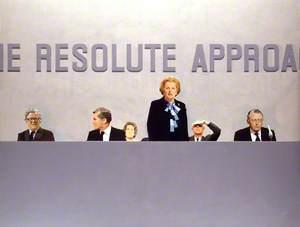 Conservative Party Conference, Brighton 1982 (Geoffrey Howe; Cecil Edward Parkinson, Baron Parkinson; Ann Mary Parkinson, Lady Parkinson; Margaret Hilda Thatcher, née Roberts, Baroness Thatcher; Sir Denis Thatcher, 1st Bt; Francis Leslie Pym, Baron Pym)