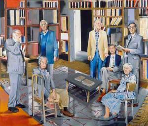 Historians of 'Past and Present' (standing: Eric John Ernest Hobsbawm; Rodney Howard Hilton; Lawrence Stone; Sir Keith Vivian Thomas; seated: (John Edward) Christopher Hill; Sir John Huxtable Elliott; Joan Thirsk)