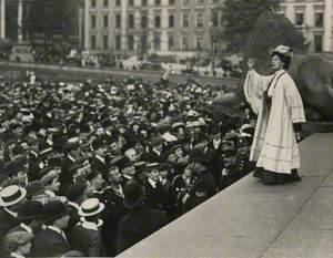 Emmeline Pankhurst Addressing a Crowd in Trafalgar Square