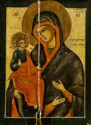 Icon with the Virgin of the Three Hands Holding Jesus