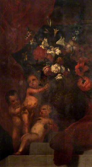 Vase of Flowers with Three Putti