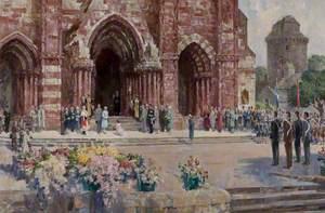 HM Queen Elizabeth II outside St Magnus Cathedral