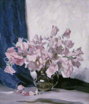 Pink Flowers and Blue Curtain