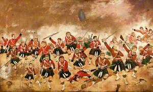 1st Battalion Queen's Own Cameron Highlanders Attacking the Position Held by the Rebel Egyptian Army at Tel-el-Kebir