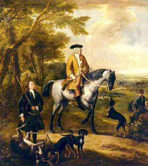 Gilbert Coventry (c.1688–1719), 4th Earl of Coventry, with Two Huntsmen in a Landscape