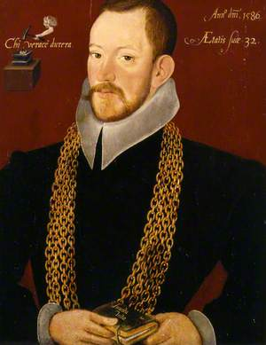 Richard Carew (1555–1620), Aged 32, as High-Sherrif and Deputy-Lieutenant of Cornwall