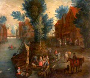 River Scene with Passengers Embarking and Disembarking