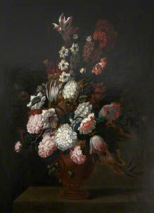 An Earthernware Vase of Flowers