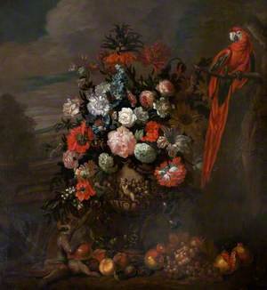 A Figured Vase of Flowers with a Monkey Teasing a Parrot