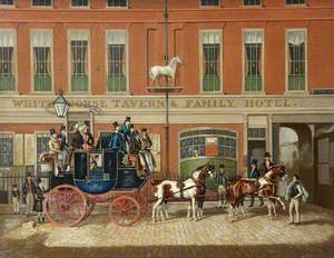 The Cambridge Telegraph Coach at the' White Horse Tavern & Family Hotel', Fetter Lane, London