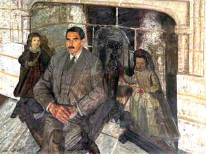 Basil Drewe (1894–1974), in front of the Entrance Hall Fireplace in Castle Drogo, Devon