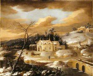 Winter Scene of a Village Inn and a Traveller