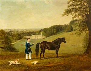A Child with His Pony and a Dog at Dyrham Park, Gloucestershire