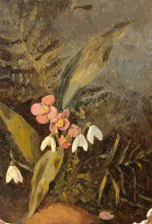 Still Life with Snowdrops, Pink Primroses and Ferns