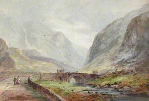 Llanberis Pass, Snowdonia, with a Coach Travelling over a Bridge