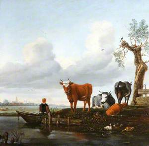 Four Cows by the Water's Edge with a Boy in a Boat