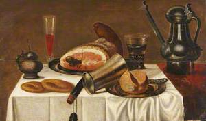 Still Life with Food and Drink on a White Tablecloth