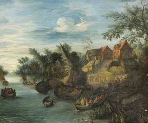 River Scene with Boats