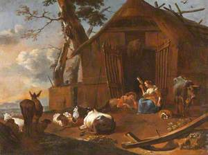 Farmyard with Cattle and Figures