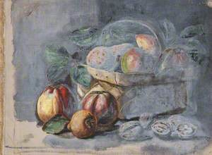 Still Life of Pears and Apples in a Basket
