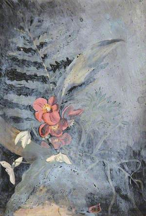 Still Life of Ferns, Pink Primroses and Snowdrops
