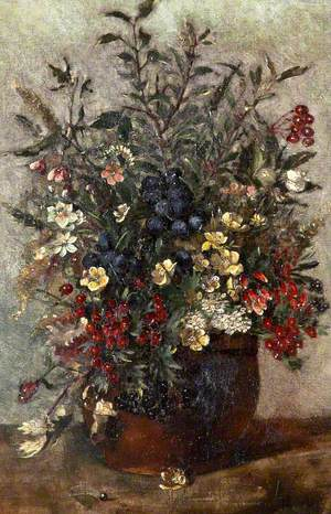 Field Flowers and Berries in a Brown Pot