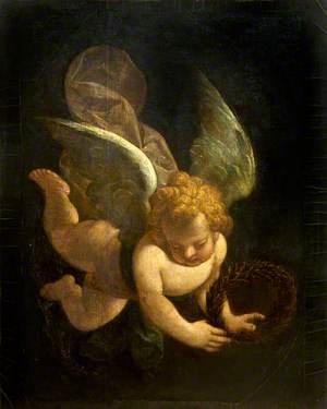A Cupid Carrying a Laurel Wreath