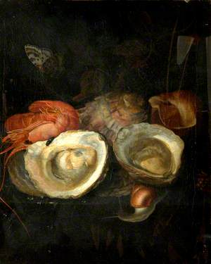 Still Life of Oysters and a Prawn on a Ledge with a Snail and a Butterfly