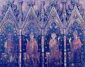 Painted Screen: Saint Edmund, Thomas Beckett, Saint Edward the Confessor and a Mitred Bishop
