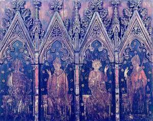 Painted Screen: Saint Edmund, Thomas Beckett, Saint Edward the Confessor and a Mitred Bishop