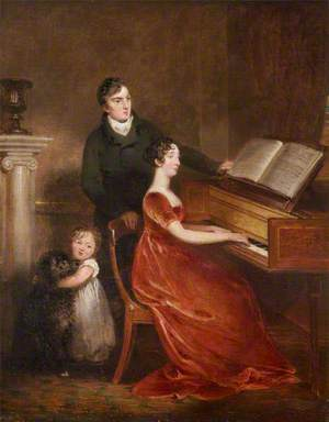 Sir Thomas Dyke Acland (1787–1871), 10th Bt, MP, His Wife Lydia Elizabeth Hoare (1786–1856), and Their Son, Later Sir Thomas Dyke Acland (1809–1898), 11th Bt
