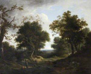 Wooded Landscape with Cattle, Sheep and Peasant Figures by a River