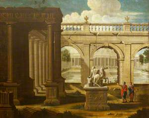 A Capriccio of Classical Architecture and Sculpture, with Two Figures